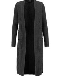 Rag & Bone Gray Celia Ribbed Cashmere And Wool-blend Cardigan