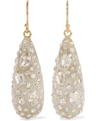 Alexis Bittar | White Gold-tone Enamel And Glass Earrings | Lyst