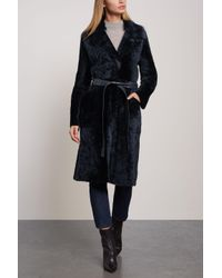 Yves Salomon Lacon Reversible Shearling Coat Midnight Blue