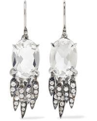 Alexis Bittar Metallic Silver-tone Crystal Earrings