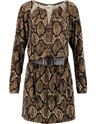 MICHAEL Michael Kors | Brown Belted Snake-print Stretch-jersey Mini Dress | Lyst