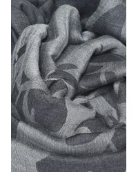 McQ Alexander McQueen Gray Fringed Modal And Wool-blend Jacquard Scarf