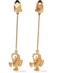 Valentino - Metallic Golden Scorpio Zodiac Earrings - Lyst