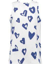 Être Cécile White Hearts Printed Cotton-jersey Top