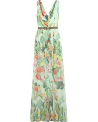 Matthew Williamson Multicolor Embellished Floral-print Silk-chiffon Gown