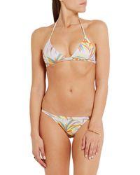 L'Agent by Agent Provocateur White Tayler Printed Halterneck Bikini Top