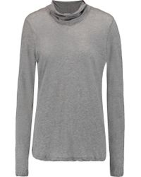 James Perse | Gray Turtleneck Cotton-jersey Top | Lyst