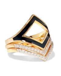 Noir Jewelry | Metallic Set Of Three Gold-tone, Enamel And Crystal Rings | Lyst