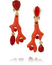 Oscar de la Renta | Red Gold-plated, Resin And Swarovski Crystal Clip Earrings | Lyst
