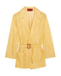 Missoni Yellow Belted Crochet-knit Jacket