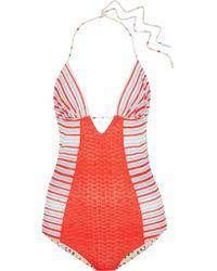 Missoni Red Reversible Crochet-knit Swimsuit