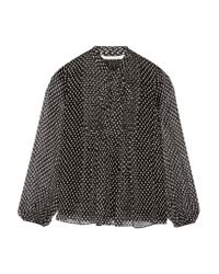 Diane von Furstenberg | Black Marjorie Pussy-bow Printed Silk-chiffon Blouse | Lyst
