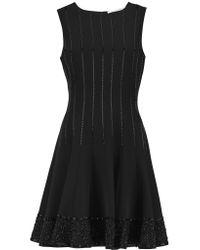 Diane von Furstenberg | Black Melilla Bead-embellished Crepe Mini Dress | Lyst