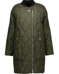 Belstaff | Green Quilted Silk-satin Coat | Lyst