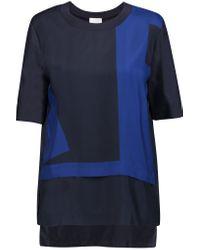 DKNY Blue Layered Silk Top