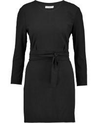 IRO Black Aline Belted Crepe Mini Dress