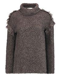 IRO Brown Cliff Fringed Bouclé Turtleneck Sweater