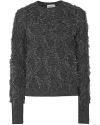 3.1 Phillip Lim Gray Long-sleeve Fringe Pullover Sweater