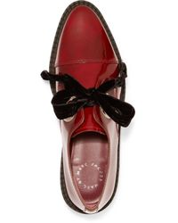 Marc By Marc Jacobs - Red Kent Velvet Bow-embellished Patent-leather Brogues - Lyst