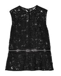 McQ | Black Zip-detailed Guipure Lace Peplum Top | Lyst