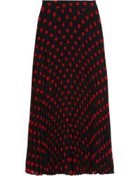 McQ | Black Polka-dot Pleated Crepe Skirt | Lyst