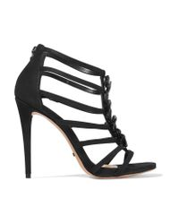 Schutz Black Embellished Suede Sandals