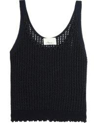 3.1 Phillip Lim Blue Open-knit Metallic Wool-blend Tank
