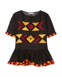 MARCH11 Black Star Fringed Embroidered Linen Peplum Top