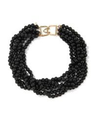 Kenneth Jay Lane | Black Gold-tone Beaded Necklace | Lyst