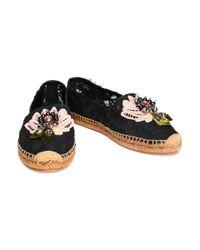 Dolce & Gabbana - Black Floral-appliquéd Corded Lace Espadrilles - Lyst