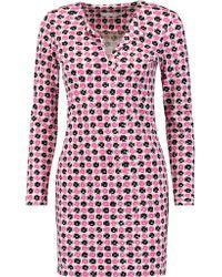 Diane von Furstenberg Pink Reina Printed Cotton And Silk-blend Jersey Mini Dress
