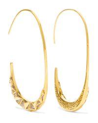 Noir Jewelry | Metallic Trapped Gold-tone Crystal Earrings | Lyst