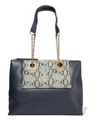See By Chloé Blue East-west Paneled Textured-leather Shoulder Bag