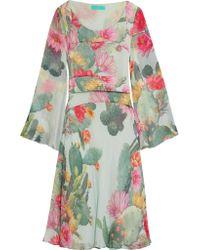 Matthew Williamson | Multicolor Flared Printed Silk-chiffon Dress | Lyst