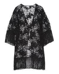 Miguelina Black Simone Fringed Cotton-lace Kimono