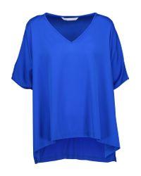 Diane von Furstenberg | Blue Adria Asymmetric Silk-blend Top | Lyst