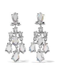 Kenneth Jay Lane Metallic Silver-tone Crystal Earrings