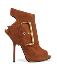 Giuseppe Zanotti | Brown Buckled Nubuck Ankle Boots | Lyst
