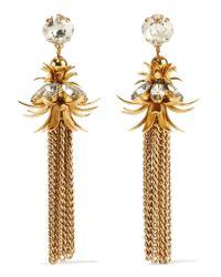 Elizabeth Cole | Metallic Gold-plated Swarovski Crystal Earrings | Lyst