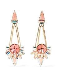 Elizabeth Cole | Metallic Charlotte Gold-plated, Swarovski Crystal And Enamel Earrings | Lyst