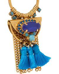 Elizabeth Cole - Blue Tasseled Burnished Gold-plated Swarovski Crystal Earrings - Lyst