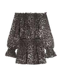 Norma Kamali | Multicolor Off-the-shoulder Leopard-print Chiffon Mini Dress | Lyst