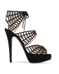 Charlotte Olympia | Black Caught In Charlotte's Web Embellished Lace-up Suede Sandals | Lyst