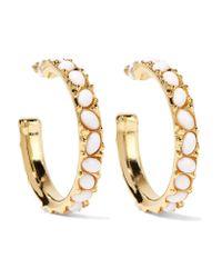 Kenneth Jay Lane | Metallic Gold-tone Cabochon Earrings | Lyst