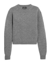 Anthony Vaccarello Gray Wool And Cashmere-blend Sweater