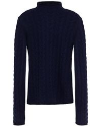 Theory Blue Cable-knit Cashmere Turtleneck Sweater Navy