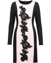 Raoul Black Drina Appliqued Twill-paneled Cotton-blend Jersey Dress