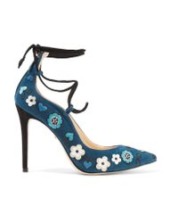 Isa Tapia - Blue Olivia Embellished Lace-up Pumps - Lyst