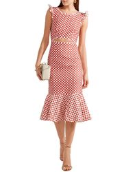 Saloni Cutout Polka-dot Stretch-crepe Dress Red