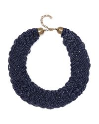 Kenneth Jay Lane | Blue Beaded Gold-tone Necklace | Lyst